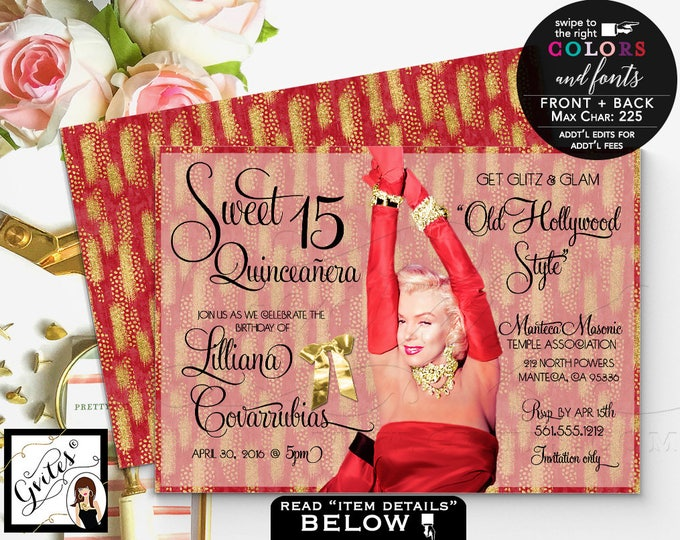 Red and Gold Quince invitations Sweet 16 invitation glitter birthday Marilyn Monroe glitz glam,sixteen, 5x7 double sided