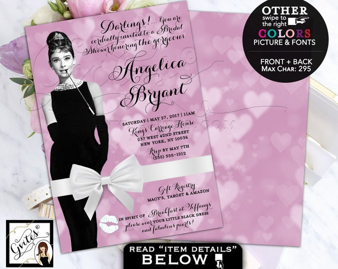 Audrey Hepburn invitation bridal shower, wedding shower, breakfast at and co bride invites, lavender, purple and white. DIGITAL 5x7