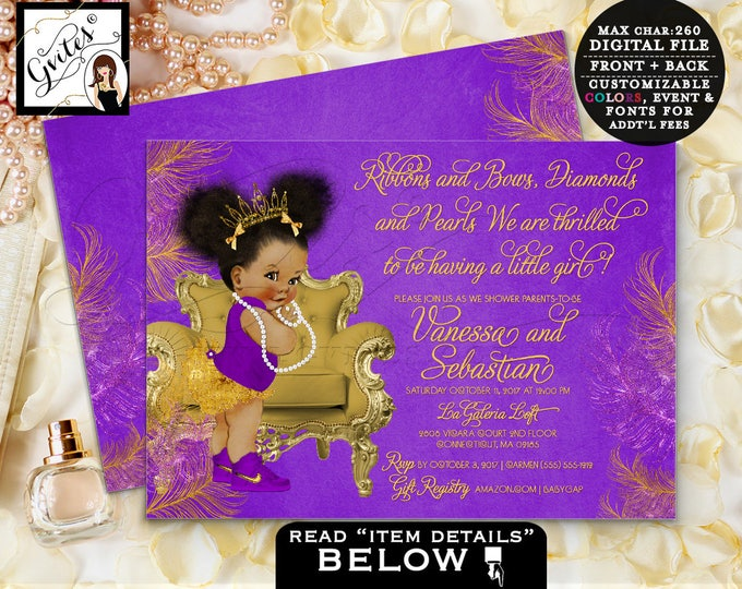 Purple and gold baby shower invitation, princess african american baby girl, afro puffs, lavender and gold, double sided, DIGITAL FILE! 7x5