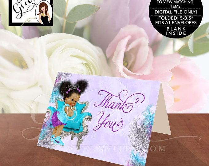 "Purple Silver and Turquoise Blue Thank you cards baby shower, princess african american baby girl, tiara afro puffs 5x3.5""/2 Per/Sheet."