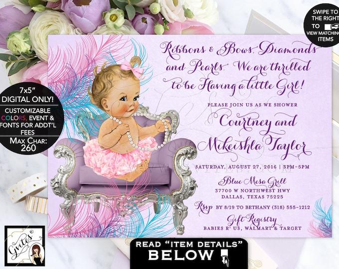 Pink purple & turquiose Baby shower invitation purple pink ruffles and bows, vintage pearls tutus lavender baby invites, digital, PRINTABLE.
