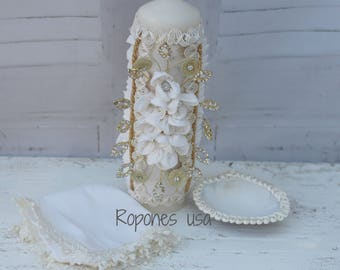 Baptism Candle set /Candle set Baptism/Baptism Handmade candle set/Candle set Hand crafted/Christening Candle set Color White or Ivory