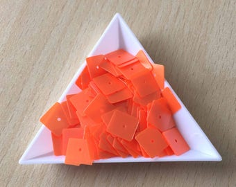 sequin square orange 5 mm in bulk