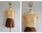 Vintage 80s Sherbet BOUCLE Blouse // SLOUCHY Lemon Top // Textured Knitwear // Oversized // Garden Party // Pretty Woman // Size: S/M