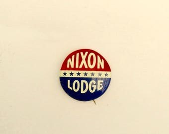 Vintage Nixon Lodge Campaign Button Pin Back 1960