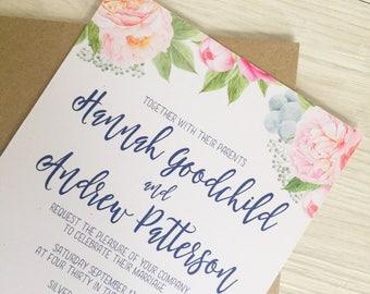 Blush and blue flower wedding invitation - Powder blue wedding invitation - Rustic wedding invitation