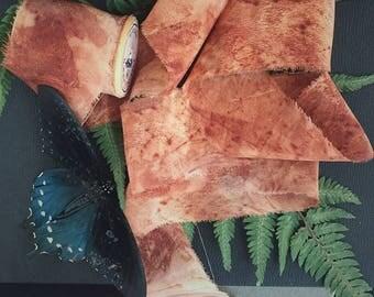 "1 1/2"" Eco-Print Silk Ribbon - Crisp Autumn"