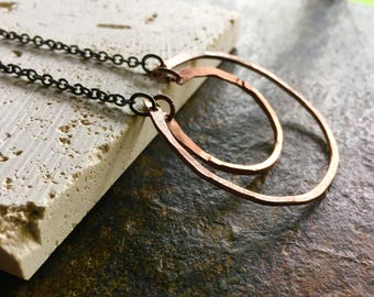 Double semi circle/geometric/modern copper and black necklace