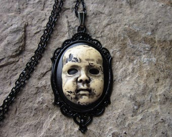Choose Black or Blood Red - Creepy Baby Doll, Zombie Baby, Zombie, Scary Doll, (Hand Painted) Cameo Pendant Necklace - Halloween - Goth