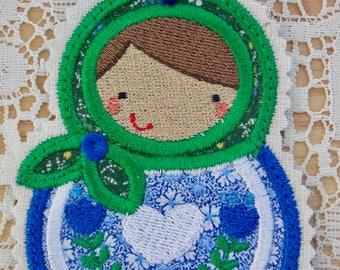 Christmas~Holiday~Gift~Decor~Ornament Traditional Russian Style Mamushka~Babushka Doll Applique in Red Green & White Machine Embroidered