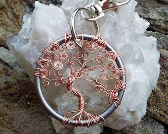 Keychain Life Tree Copperwire wrapped