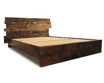 solid wood platform bed frame and headboard simple bed frame bedroom furniture rustic