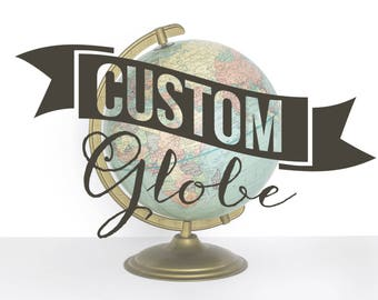Custom Painted Vintage Globe