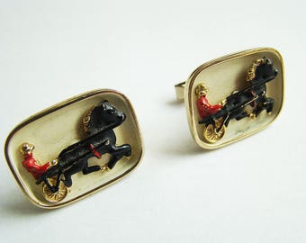 Vintage Swank Horse and wagon cuff links Fireman and Horse 3D Relief Scene Pair of Interesting Cufflinks Very Cool