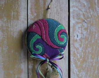 Handmade Vintage Needlepoint Ornament, Purple, Green, Maroon, Door or Wall Hanging, Purple Lovers Gift, Christmas Tree Ornament,Starry Night