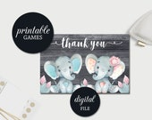 Thank you Card Twins baby shower Printable elephant baby shower Thank you Card, Birthday Thank You Card, Printable Thank you Card