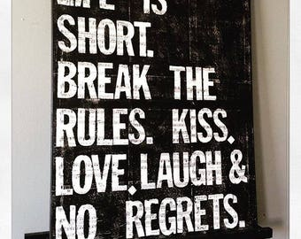 """Canvas Art Quote, """"Life Is Short"""" 24 X 30"""