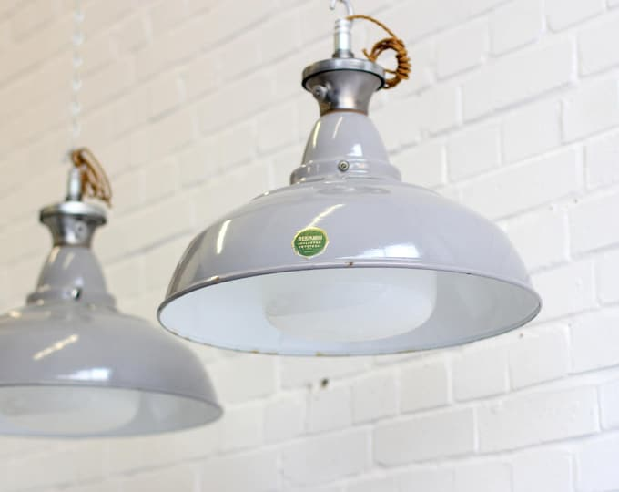 Large Industrial Pendants With Opaline Diffusers By Benjamin
