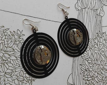 Ladies vintage watch movement and aluminum earrings