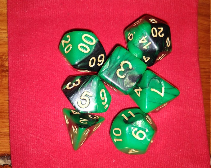 Jade and Black - 7 Die Polyhedral Set with Pouch