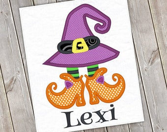 Personalized Halloween Girly Witch Hat with Shoes Applique Shirt or Onesie for Boy or Girl