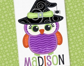 Personalized Halloween Girly Owl with Witch Hat Applique Shirt or Onesie for Boy or Girl