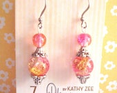 Pink crackle beaded earrings, pink and yellow,  hypo allergenic, silver metal