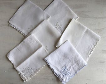 6 Assorted Vintage White Linen Tea Napkins