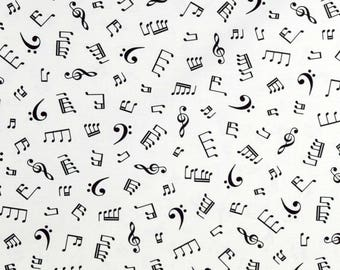 Music Fabric In Tune Musical Notes Fabric White From Robert Kaufman 100% Cotton