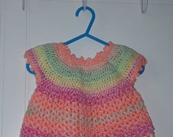 Neon colours crocheted dress