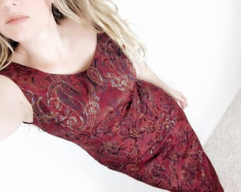 Fitted Paisley Brocade Body Con Dress 90s Vintage Low Back Midi Length