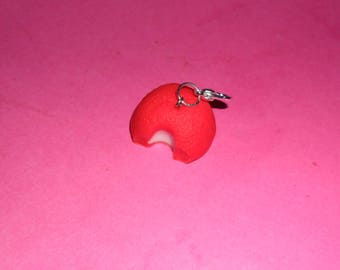"1 ""Sweet Strawberry bitten"" Charms polymer clay 20mm"