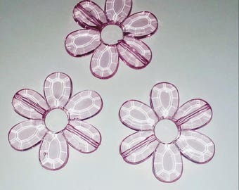 Large 1 X Pearl translucent fuchsia flower 33mm