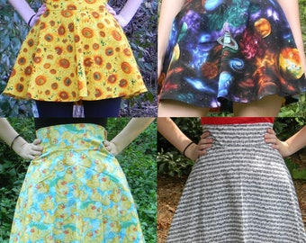 High Waist Quirky Print Circle Skirt (Choose Custom Fabric and Size)