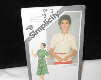 Misses Top Simplicity 9872 Womens Size 10 Dress Vintage 1980 Jiffy Adjustable Petite