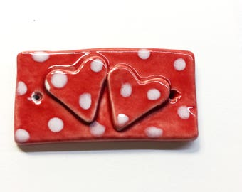 Red polka dot clay hearts bracelet bar Handmade Red and white dotty design