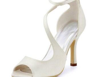 Ivory Shoes, Ivory Bridal Shoes, Ivory Satin Shoes, Ivory Wedding Shoes, Peep Toe Bridal Shoes, Wedding Shoes, Bridal Shoes, Ivory Peep Toe