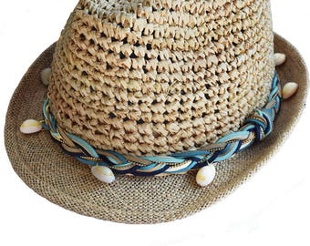 Straw Hat Navy, turquoise, cyan, nude and ivory
