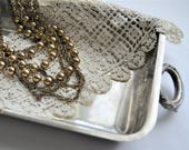 SILVER TRAY Shabby Chic Elegant Silver Serving Jewelry Tray
