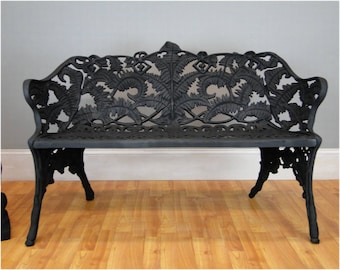 Garden Street Scape Bench with Fern Floral Design Non Rust Architectural Seat