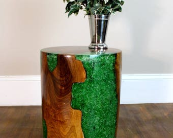 Teak Wood and Green Lucite Resin Plastic Cylinder End Side Table Night Stand
