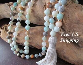 Mala Beads,Amazonite, 108 Beads, Tassel Necklace,  Mala Necklace, Long Necklace for Women, Prayer Beads, Yoga Jewelry, Long Beaded Necklace