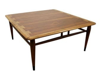 Mid-Century Coffee Table Danish Modern Andre Bus Lane Acclaim Walnut Oak Square Coffee Table