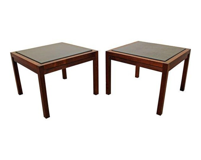 Pair of Mid-Century Danish Modern Milo Baughman Founders Walnut/Slate End Tables