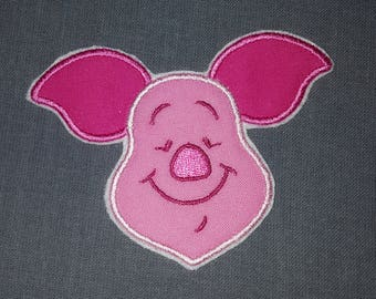Piglet Pink Pig Iron on No Sew Embroidered Patch Applique
