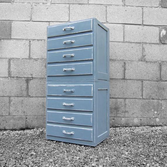 Vintage Blue Grey Painted Tall Boy Drawers Retro Formica Storage