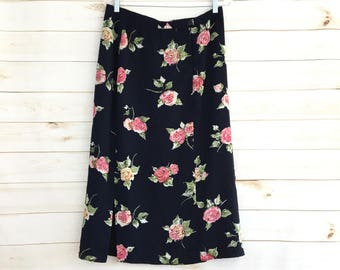 Vintage 90's Pendleton Silky Navy Pink Floral Midi Skirt Women's 12 Large