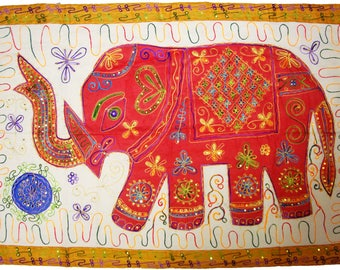 Handmade Vintage Elephant Patchwork Embroider Indian Table Cloth Runner  Wall Hanging Tapestry Beautiful Wall Decoration