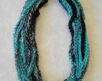 Crochet Chain Scarf, Multi Strand Scarf, crochet necklace, womens, chain scarf, womens scarf, crochet scarf, turquoise, teal, black, gray