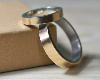 Wedding Rings Set 9K Gold Yellow and Silver. Wedding Bands His and Hers. Wedding Bands Set. Wedding Bands Set His and Hers